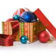 Box with christmas stuff — Stock Photo