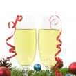 Christmas decoration with two Glass of Champagne — Stock Photo