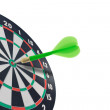 Stock Photo: Green dart hitting target center