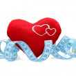 Red heart with measure tape — Foto de Stock