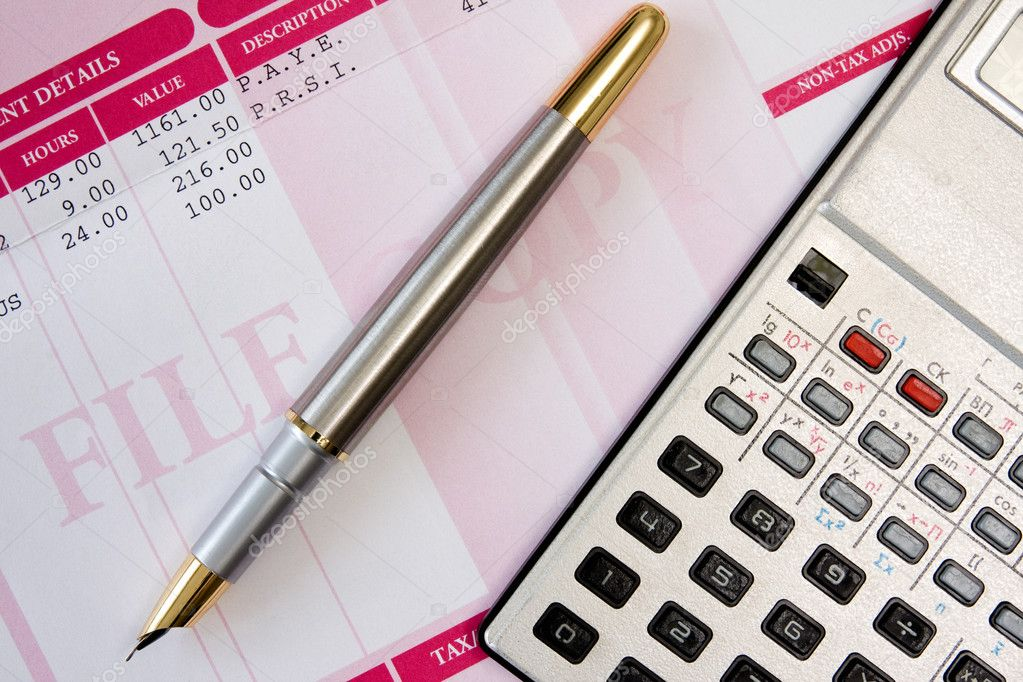 Ink pen,calculator  and payroll summary details — Stock Photo #8903334