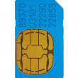 Blue gsm phone sim card — Stock Photo