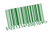 Green barcode isolated on white — Stock Photo