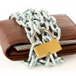 Wallet in chains with padlock — Photo