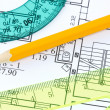 Rulers and pencil on architectural  blueprint — Stock Photo
