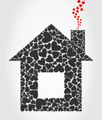 The house collected from hearts. — Stock Vector