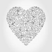 Srdce z hudební noty. — Stock vektor