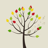 The bird sings on a tree. — Stock Vector
