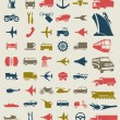 Stock Vector: Collection of icons of transport. vector illustration