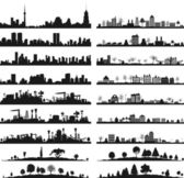 Collection of city landscapes. — Vector de stock