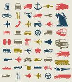 Colección de iconos de transporte. una ilustración vectorial — Vector de stock