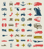 Collection of icons of transport. A vector illustration — Stok Vektör