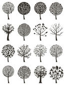 Silhouettes of trees on a white background. — Stock Vector