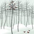 Birds sit on a tree in the winter. — Vector de stock  #10661060
