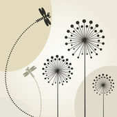 The dragonfly flies over a flower. — Stock Vector