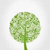 Drzewo z symboli ekologia. — Wektor stockowy