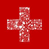 Biały krzyż na czerwonym tle. — Wektor stockowy