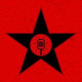 Hvězda s mikrofonem na červeném pozadí. — Stock vektor