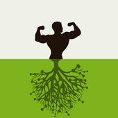 The man grows from the earth. — Stock Vector