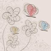 花に蝶飛ぶ. — ストックベクタ