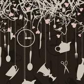 ветви с посуды и птицы. — Cтоковый вектор