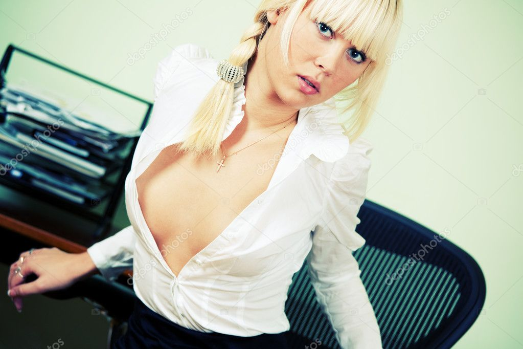 Sexy Secretary in office. Flirt in office. — Stock Photo #10630204