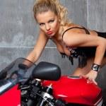 Sexy Blonde on sportbike — Stock Photo