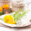 Festive table setting with flowers — Stock Photo