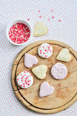 Heart-shaped biscuits — Stock Photo