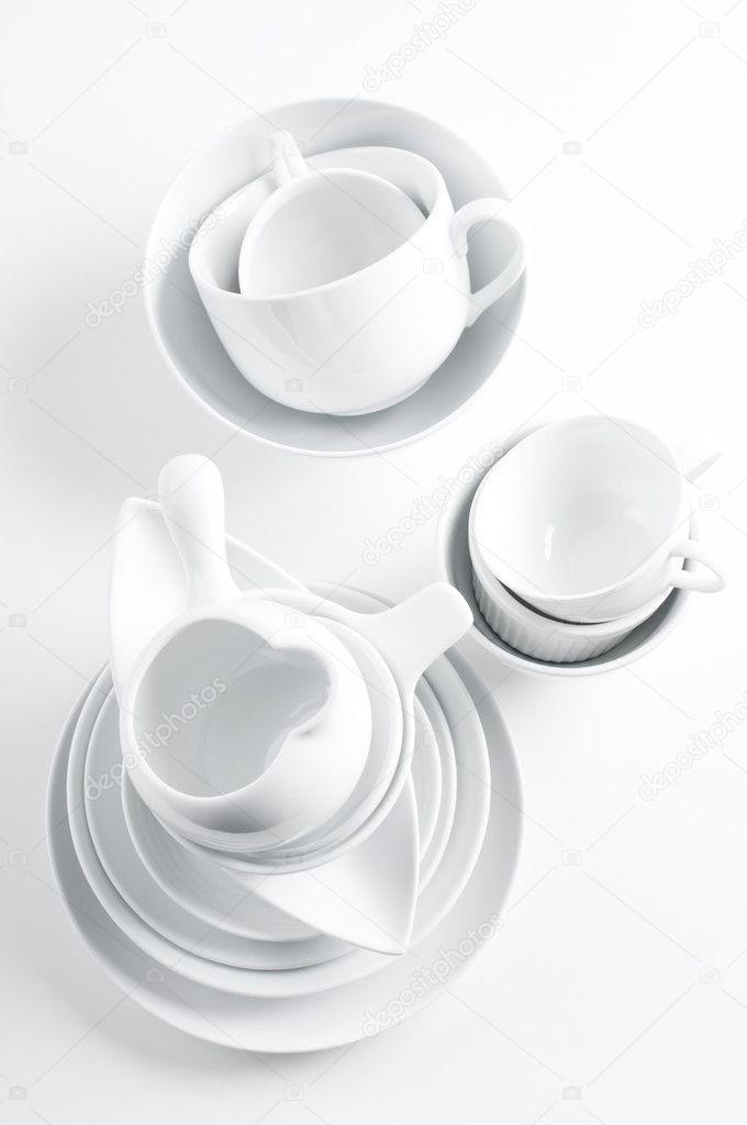 blancos vajilla y utensilios de cocina fotos de stock