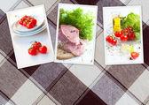 Tres fotos de comida en el fondo — Foto de Stock