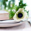 Closeup of holiday table setting — Stock Photo