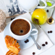 Breakfast, coffee, pastries and fruits — Stock Photo