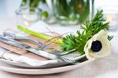 Closeup of holiday table setting — Stock Photo