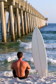 Surfboarder By Pier — Stock Photo