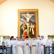 Rite of confirmation at Lutheran church — Stok fotoğraf