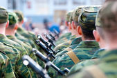 Soldiers, rear view — Stock Photo