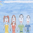 Family - kids drawing — Foto de Stock