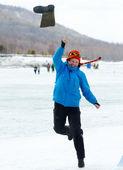 Valenok throwing at Baikal Fishing 2012 — Stock Photo