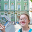 Girl with Hermitage tickets — Stock Photo