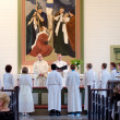 Rite of confirmation at Lutheran church - Stock Photo