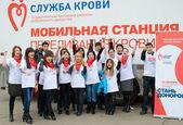 Donors volunteers — Stock Photo