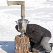 Firing of samovar at Shrovetide - Stock Photo