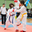 Girls taekwondo wrestlers — Stock Photo