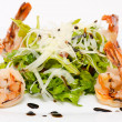 Roquette with shrimps — Stock Photo