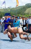 Mongolian wrestlers — Stock Photo