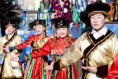 Mongolian dancers at Shrovetide — Stock Photo