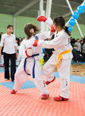 Girls taekwondo wrestlers — Stockfoto