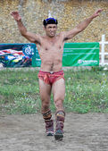 Mongolian wrestler winner — Stock Photo