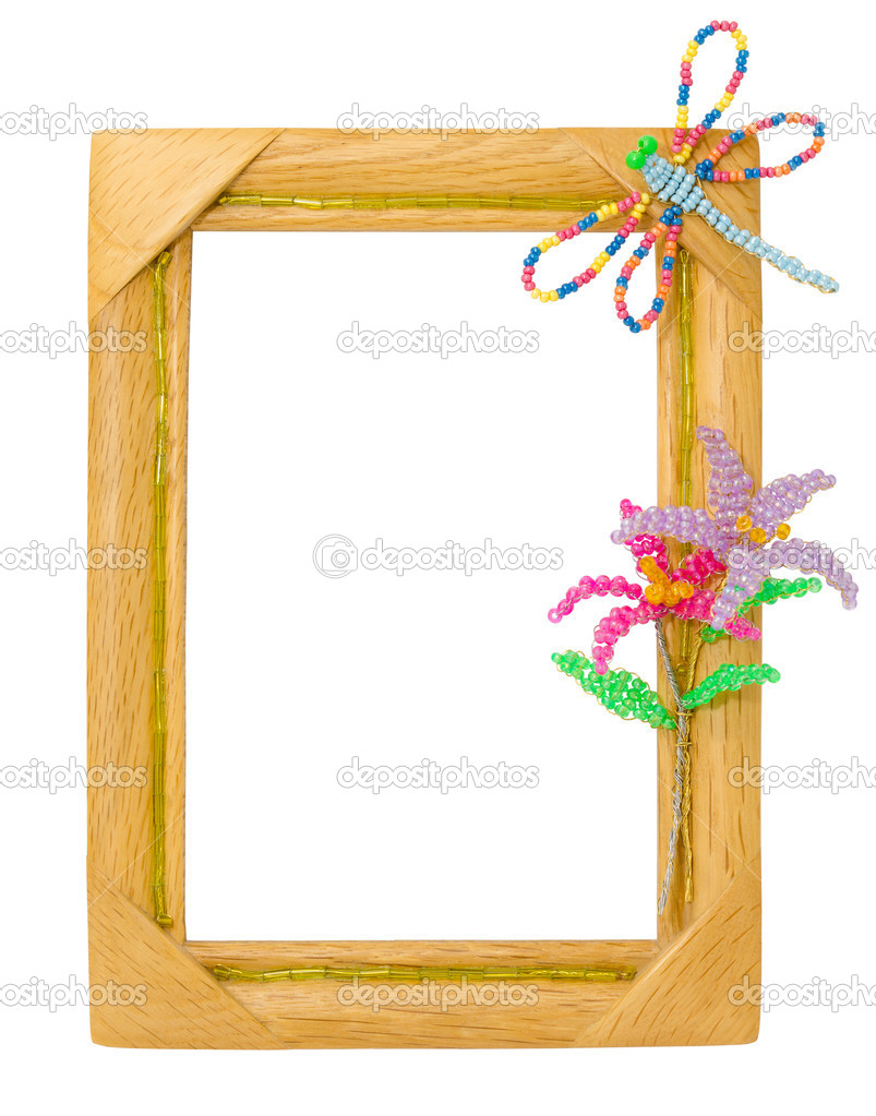 A wooden frame with a dragonfly and flowers, beadwork (my daugter's work) — Stock Photo #8340437
